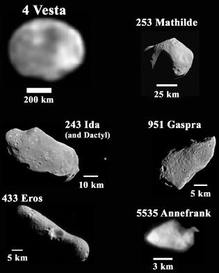 a few named asteroids